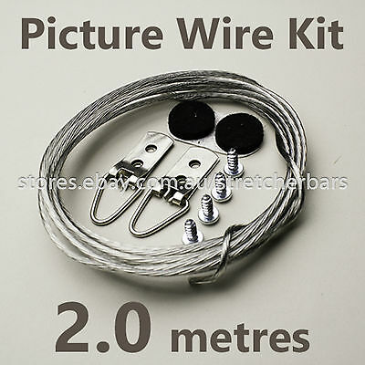 Picture Hanging Wire Kit (2m) incl coated wire, D-rings, screws, felt bumps