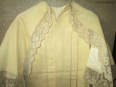 Antique Victorian hand sewn Christening cape for dolls,from cream wool/France
