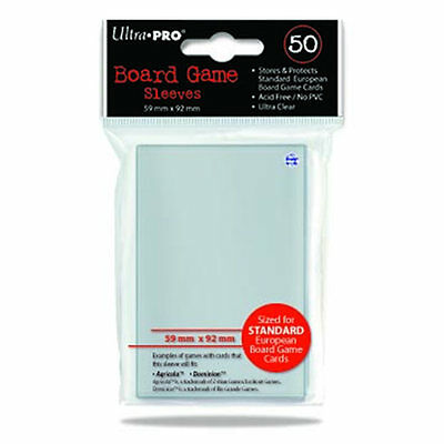 50 Ultra Pro 59mm X 92mm Standard European Board Game Card Sleeve Dominion 82602