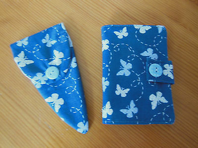Hand Crafted New Sewing Needle Case 6 Felt Pages & Matching Scissor Case Blue
