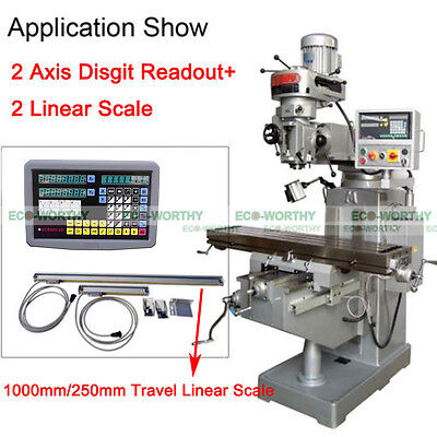 CNC 2 Axis Digital Readout DRO and TTL Linear Scale For Mill Lathe Bridgeport