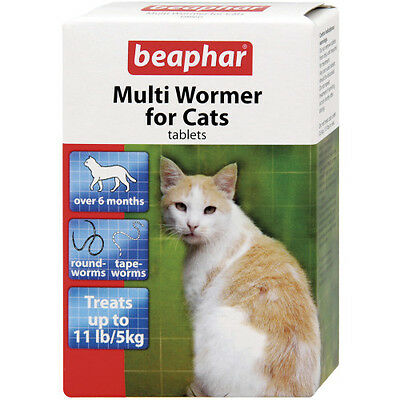 Beaphar Cat Wormer MultiWormer Treatment Cat Worming Tablets Roundworms Tapeworm