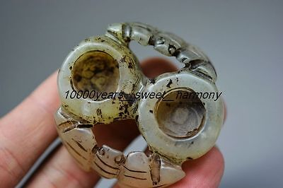Good quality Chinese old jade carved bats lucky brush washer  H3