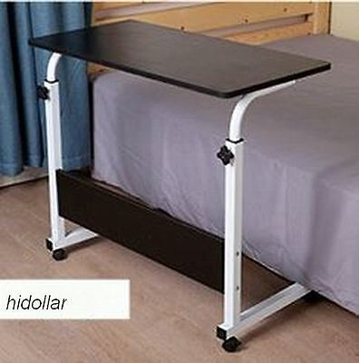 Mobile Overbed Trolley Table Laptop Ipad Study Hospital Hall Desk Height Adj Blk