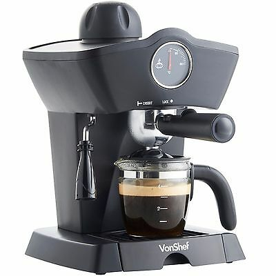VonShef 4 Bar Espresso Latte Cappuccino Barista Coffee Maker Machine - Black