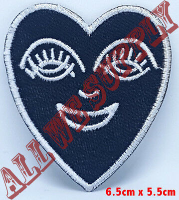 Crying Heart Embroidered Patch - Iron On patch  Black White sew on patch