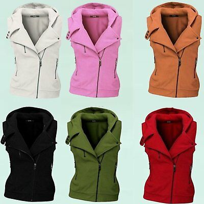 Fashion Women Slim Fleece Warm Vest Coat Sleeveless Jacket Hooded Vest Waistcoat