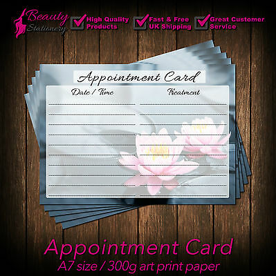 Appointment Cards for massage, beauty salons,therapist,hairdresser Pack of 25 WL