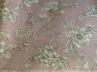 Loire French  Floral  Toile de Jouy Dusky Pink Curtain/Craft Fabric