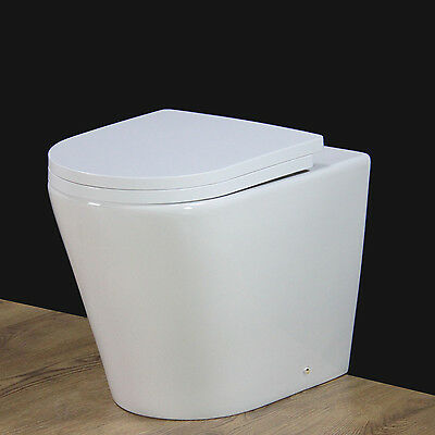 Toilet WC Bathroom Back to Wall Ceramic White Heavy Duty Soft Closing Seat Cover