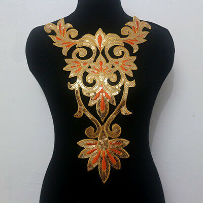 1Pcs Collar Neck Embroidery Sequined Applique Motif Trims Orange Gold Sew On