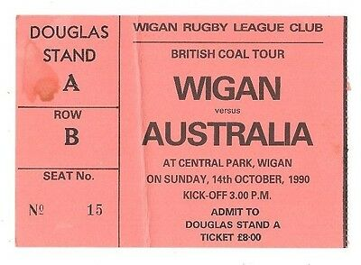 1990  - Wigan v Australia, Touring Match Ticket.