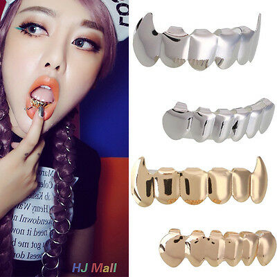 Hip Hop Gold Plated Mouth Teeth Top Bottom Grill Grillz Bottom Halloween Gift