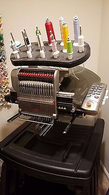 Melco AMAYA XT embroidery machine with cart