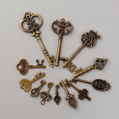 12 Assorted Antique Vintage Old Look Bronze Pendants Vintage Key Collectibles