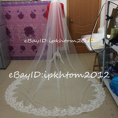 1 Layer Chapel / Cathedral Wedding Veil Lace Bridal Accessories Veil With comb