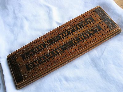 Antique LASH'S BITTERS Wooden Cribbage Board Advertise CURES QUACK MEDICINE