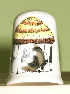 Pigeon Bone China Thimble Unusual Peek a boo Style Pigeon in a hut