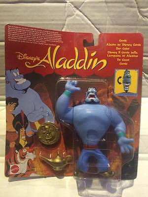 New Mattel Disney Aladdin Figure - GENIE - Rare Collectable Carded - Lamp & Coin