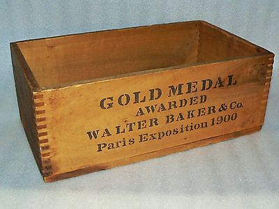 Walter Baker Gold Medal Paris Exposition 1900 Chocolate Wood Crate Box Advertisi