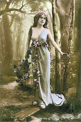p066 GLAMOUR female 1900s risque pretty girl classical beauty photo
