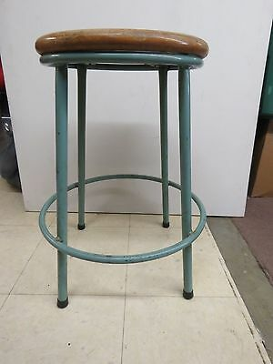Industrial Steampunk Stool Footrest Antique Vintage Round Wood Seat 496