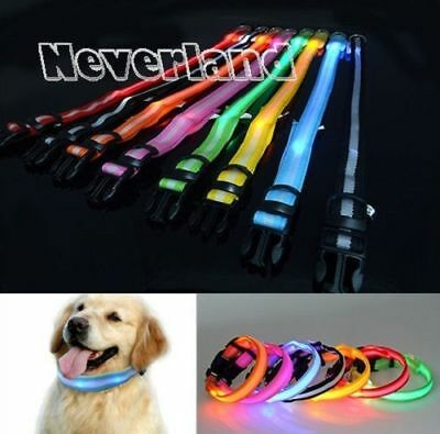 Pet Cat Flashing Light Up Nylon Collar Night Safety Supplies Pet Products HGP