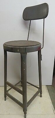 Vintage Industrial Metal Chair Stool Adjustable Back SteamPunk  #497