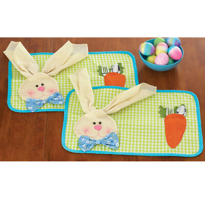 Easter Theme Rabbit Bunny Kids Placemat & Napkin Dining Table Mat Pad Decor