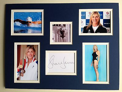 "Swimming Sharon Davies Signed 16""x12"" Double Mounted Picture Display"