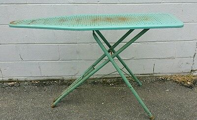 Vintage Metal Ironing Board Teal Blue Table Mid Century Display Shelf