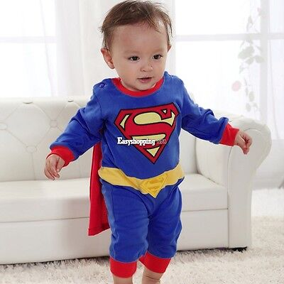 Superman Suit Fancy Dress SuperHero Costume for Baby Toddler Kid Boy Romper ES2P