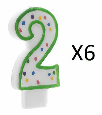 "Wilton 3"" Green Polka Dot Numeral 2 Decorative Party Cake Age Candle (6-Pack)"