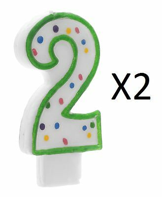 "Wilton 3"" Green Polka Dot Numeral 2 Decorative Birthday Cake Age Candle (2-Pack)"