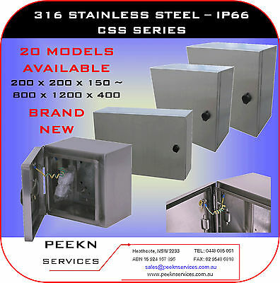 300W x 400H x 200D, IP66 316 Stainless Steel Electrical Cabinet Box, CSS304020 D