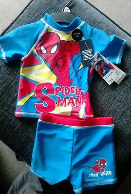 Spiderman UPF 50+ blue and red boy's 2 piece sunsuit age 18-24 months