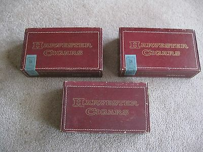 Lot Of 3 Vintage Harvester Perfecto Cigar Box 2 With Full Stamp 1 No Stamp