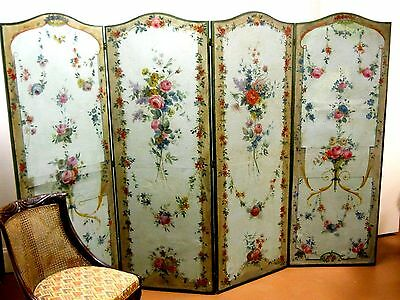19th C. FLORAL FLOOR SCREEN in CONTINENTAL CANVAS OIL PAINTED. Art Nouveau