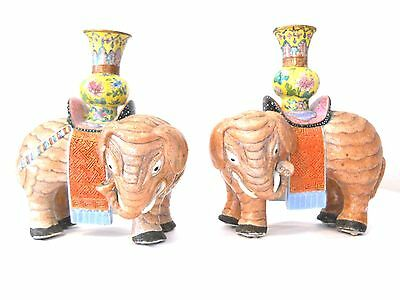 19Th. Century Pair Of Chinese Export Porcelain Elephants Candle Holders