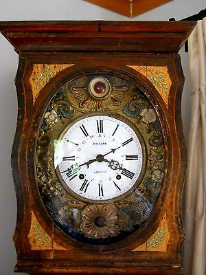 19th c COUNTRY PAINTED FRENCH NAVAL MORBIER OAK TALL CASE CLOCK
