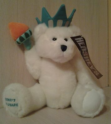 """Hershey's Statue of Liberty Teddy Bear 2002 Times Square White Plush 12"""" NWT"""