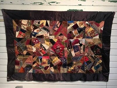 antique crazy quilt. BEAUTIFUL 1880-1910   66''x44''