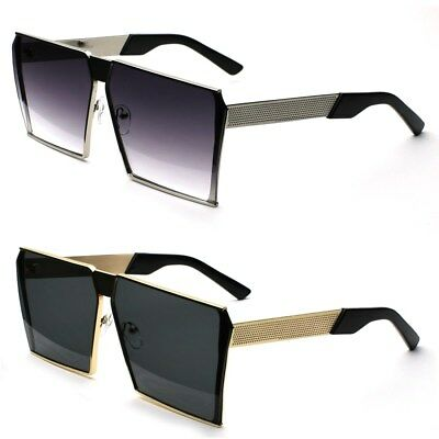 Oversized Flat Top Metal Square Retro Men's Fashion Sunglasses New