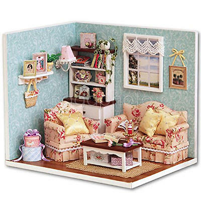 Birthday Kits DIY Wood Dollhouse miniature + Furniture + Cover Doll house room 3