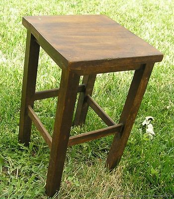 Antique Mission or Art & Crafts Era American Wood Square Stand Table c1910