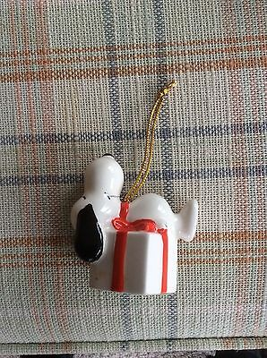 Vintage Snoopy Peanuts Woodstock Snoopy on package ceramic Christmas ornament