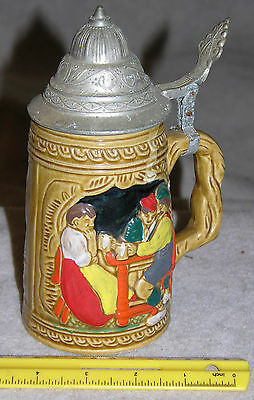 """Vintage 7-1/2"""" x 2-1/2"""" (about 1 qt) Ceramic Stein with Metal Lid"""