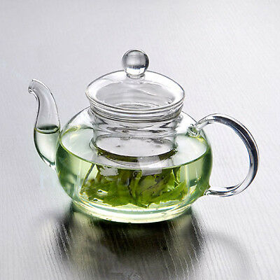 Resistant Glass Teapot Infuser Coffee Tea Leaf Coffee Home Office 600ML