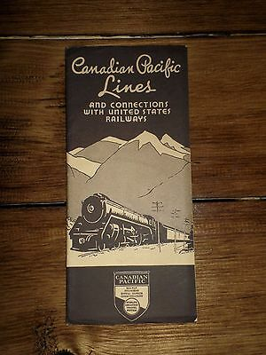 1938 Canadian Pacific Railway Lines & Connections LARGE Fold Out Map Excellent