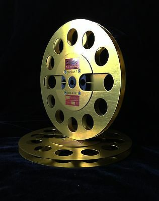 """ONE PAIR   New  7"""" Anodized Aluminum  metal Reel to Reels Golden"""